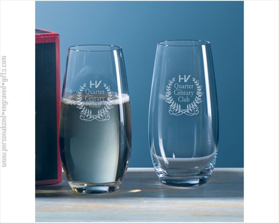 3cee646e4e2 Engraved Stemless Champagne Glasses from Riedel | Engraved Riedel ...