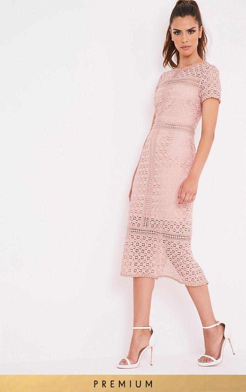 Midira Premium Dusty Pink Crochet Lace Midi Dress | outfits ...