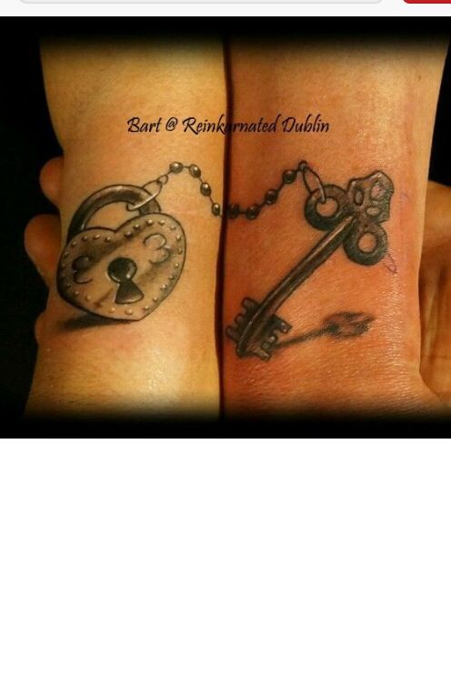 His N Hers  Cute Couple Tattoos, Key Tattoos, Couple Tattoos-8162