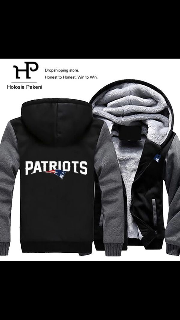 New England Patriots Hoodie Zip up Jacket Coat Winter Warm Black and Gray