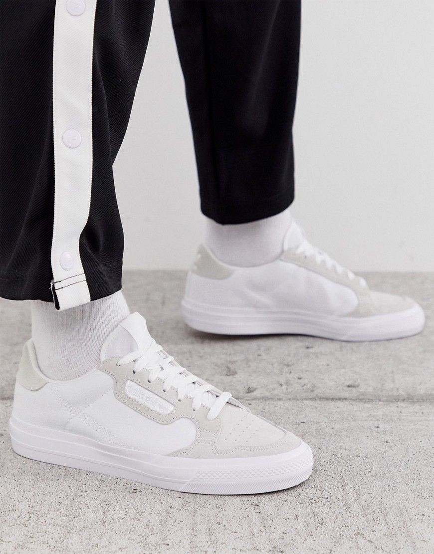 ADIDAS ORIGINALS CONTINENTAL VULC SNEAKERS IN WHITE WITH