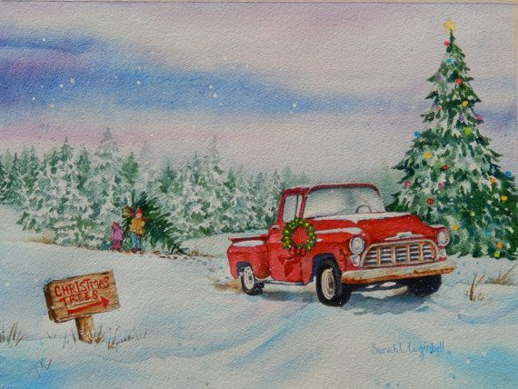Old Truck With Christmas Tree Painting.Image Result For Winter Painting With Old Truck With