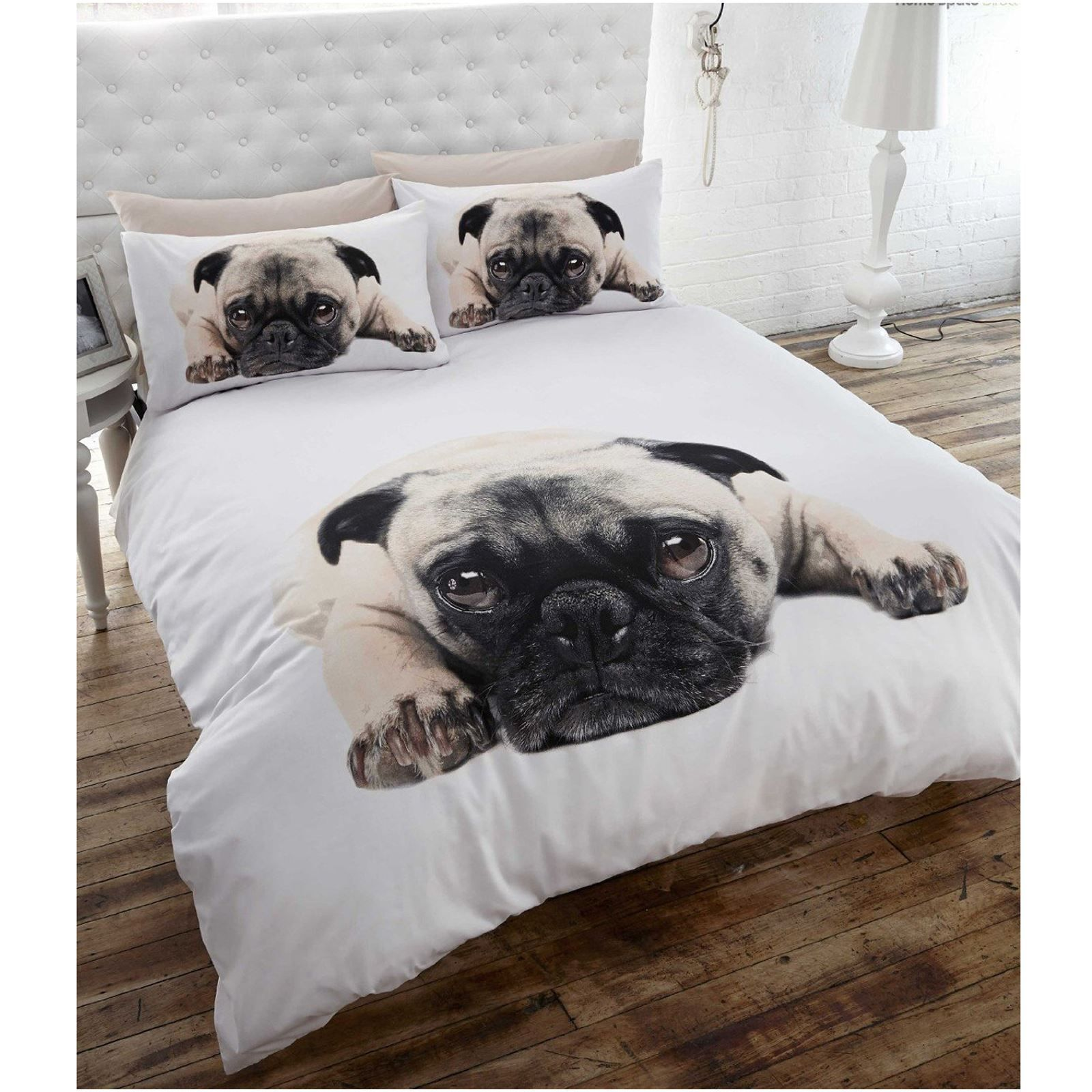 Funny bed sheets - Pug Puppy Dog Full Size Duvet Cover Bed Sheets Animal Bedding