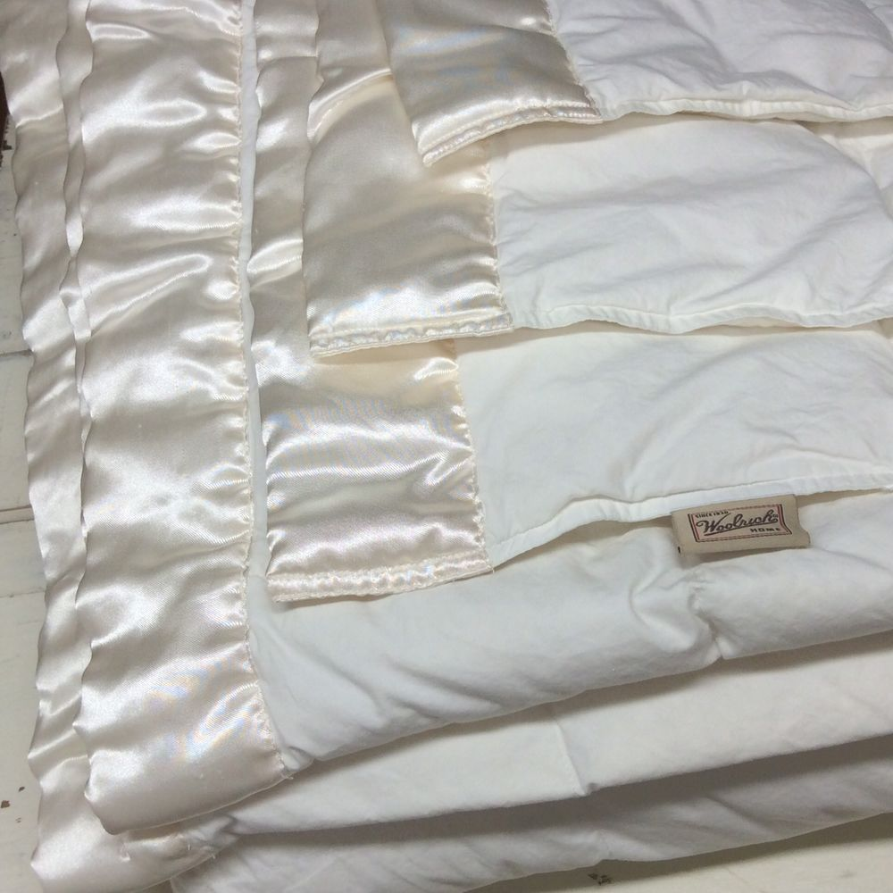 woolrich down full or queen white square baffle box satin trim