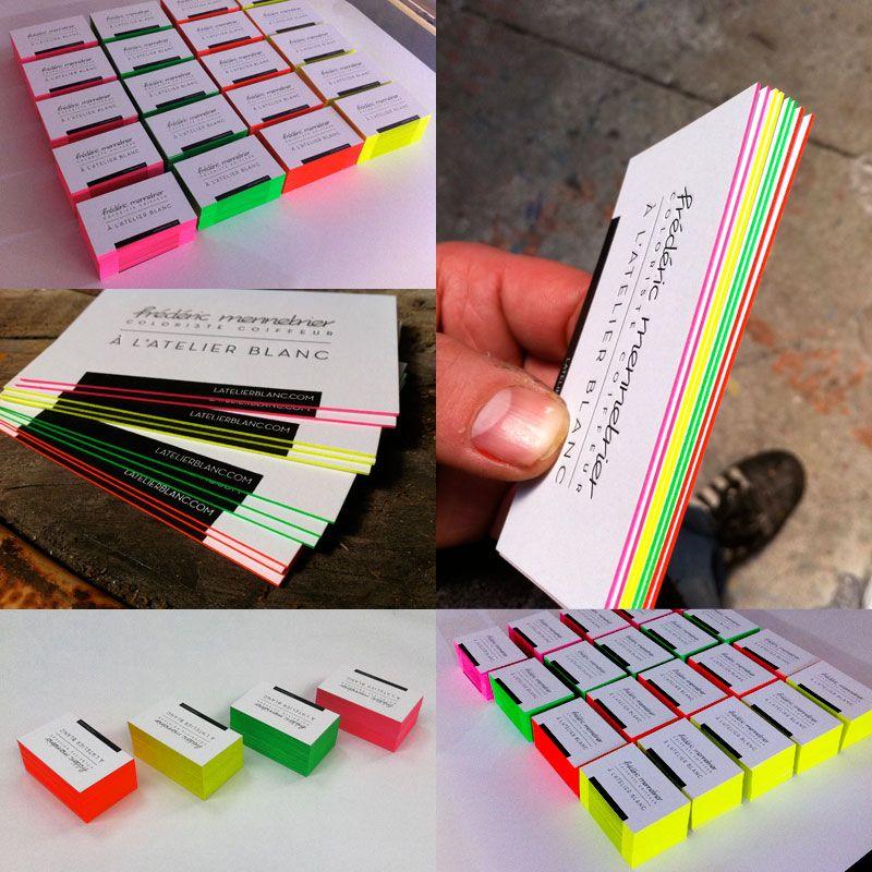 Impression Carte De Visite X Cm Dbossage 1 Couleur R V Couleurs Fluo Sur Tranches Papier Duplex