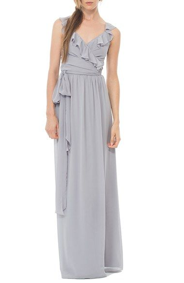 Ceremony By Joanna August Lacey Gathered Sleeve Wrap Gown Nordstrom