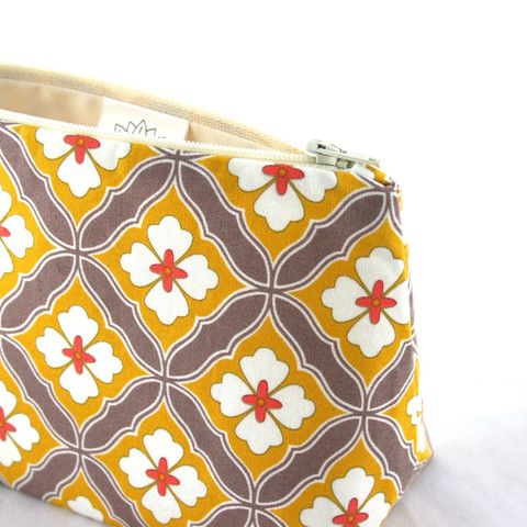 Retro Mustard & Coral Tile Floral Makeup Bag – Le Pique Nique, $13.95