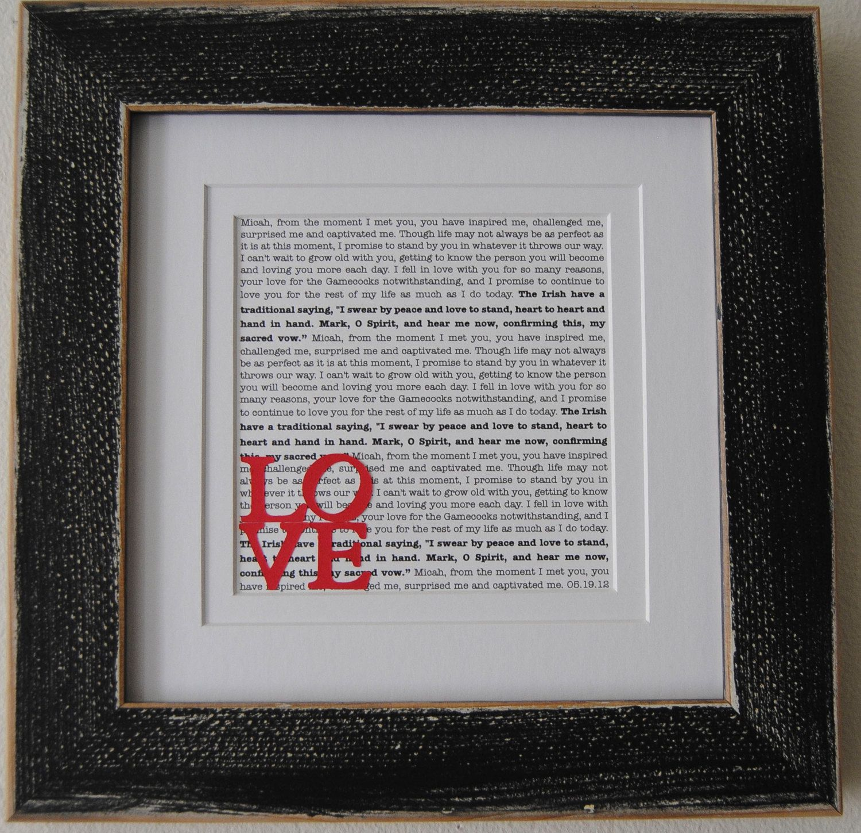 Wedding Vow Gifts: Wedding Vow Art/ Printed Wedding Vows/ Framed Wedding Vows