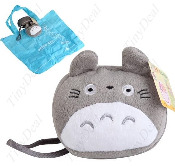 Portable Cartoon Style Folding Bag Friendly Plush Shopping Bag Handbag Tote Coin Change Purse - Gray HLI-30741