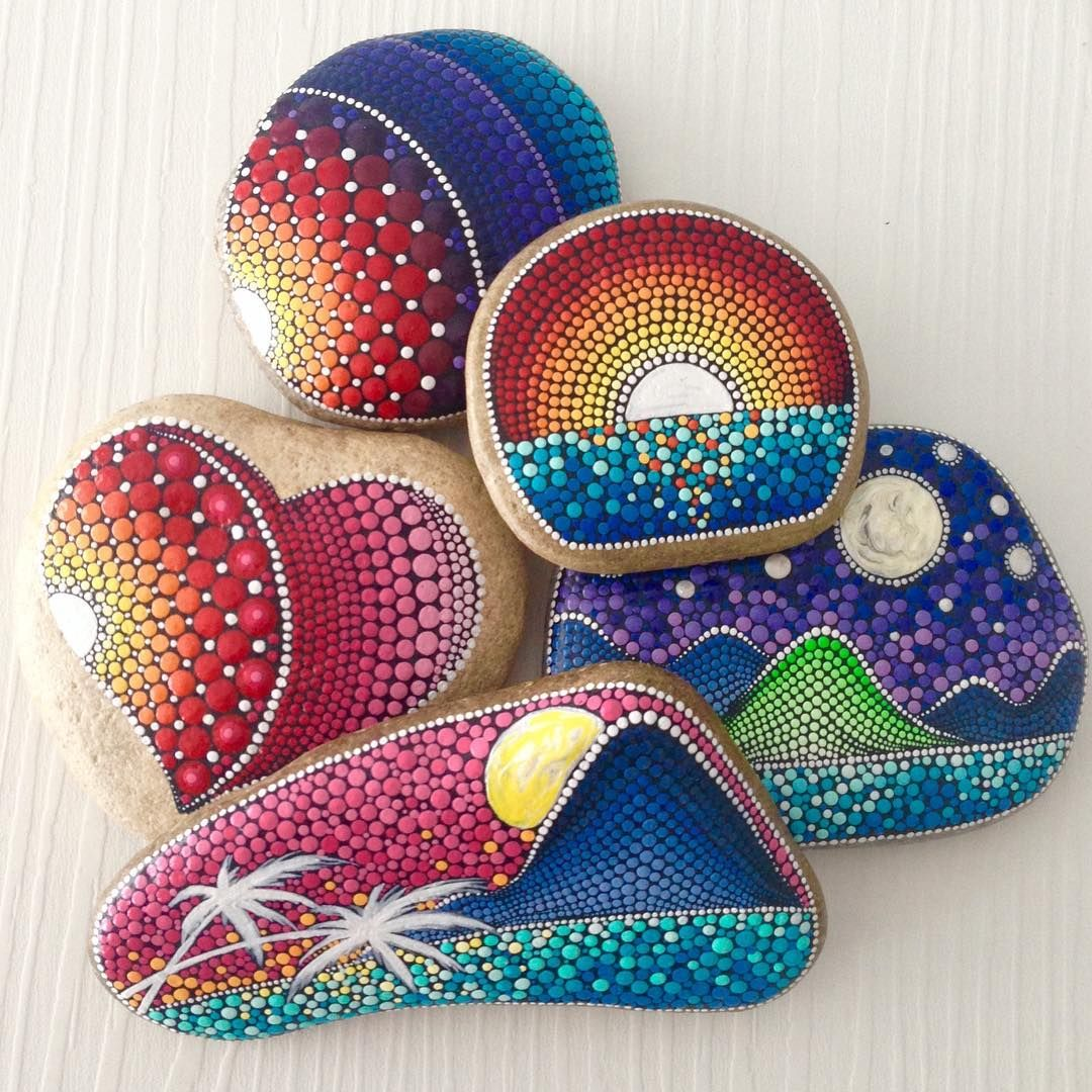 rock painting craft ideas cool painted rock sunset on painted rocks 5339