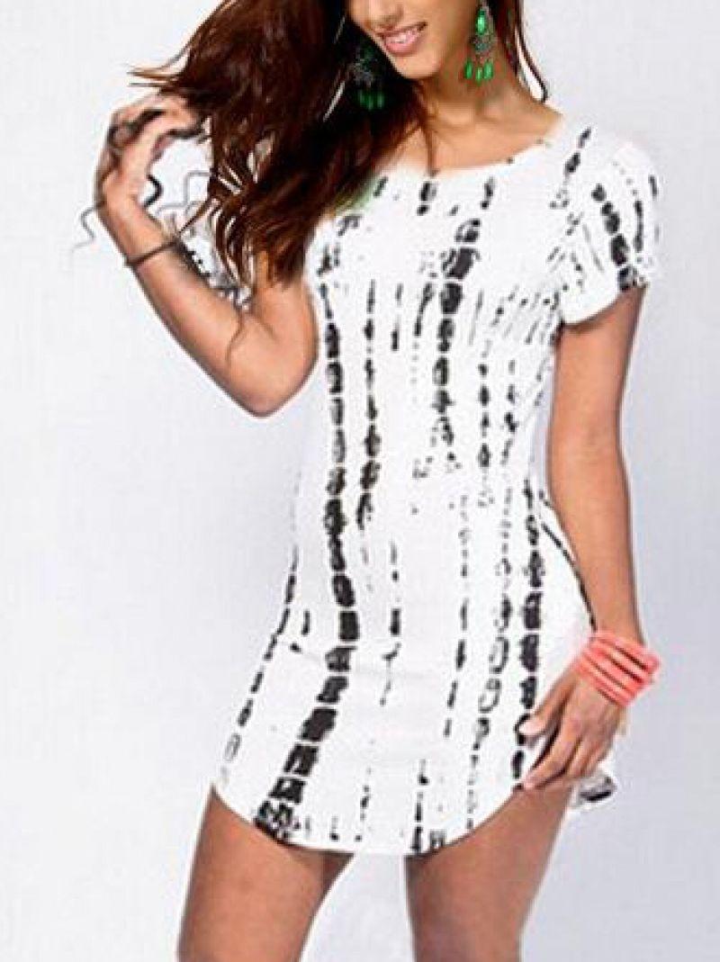 White black round neck short sleeve striped dress sheinabaday