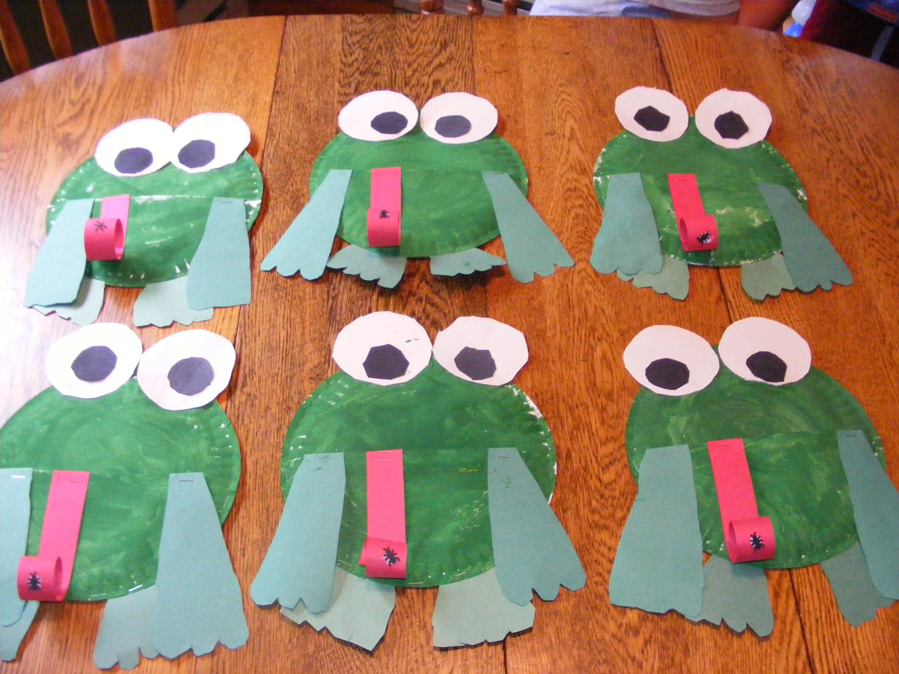 Frogs Paint A Paper Plate Green Add Face Fron Cardstock
