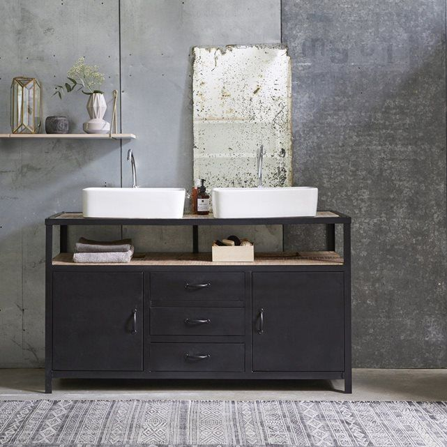 Meuble salle de bain industriel 2 vasques métal noir et plateau bois - Meuble De Salle De Bain Sans Vasque
