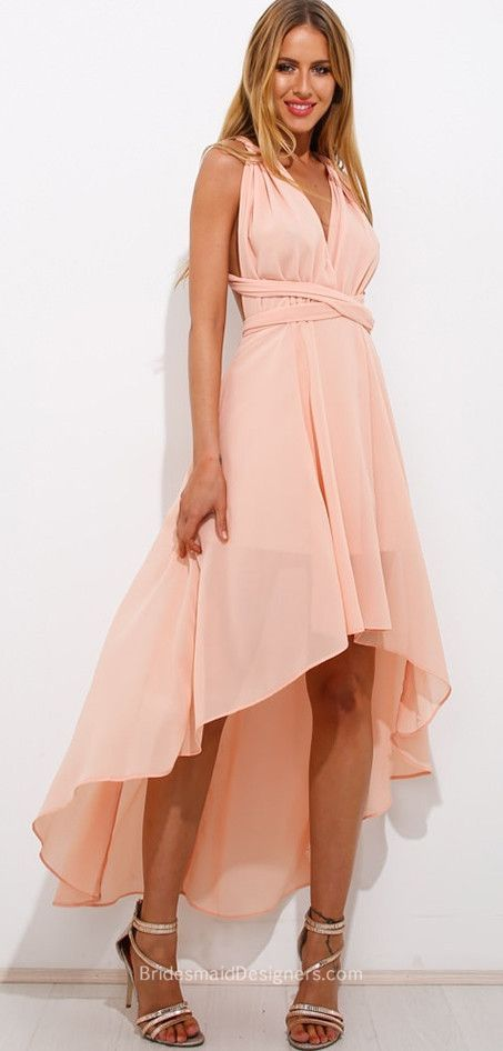 a0eafaa431 High-low bridesmaid dress accenting with Crisscross tie on the back matches  with blush chiffon skirt. Ruched v-neckline is the highlight of this gown.
