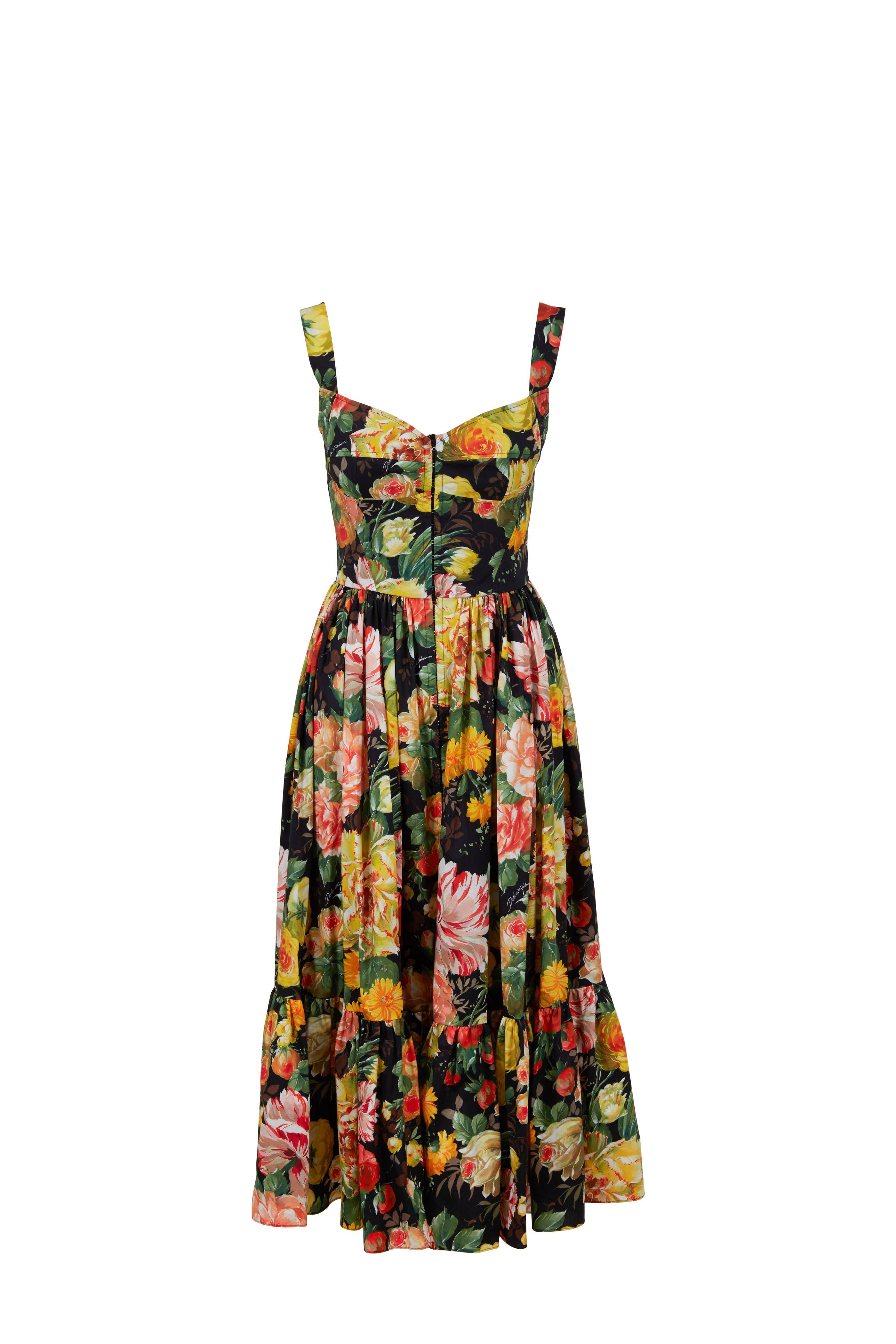 d683084fdb86e Black & Yellow Floral Printed Fit-To-Flare Dress in 2019 | Resort ...