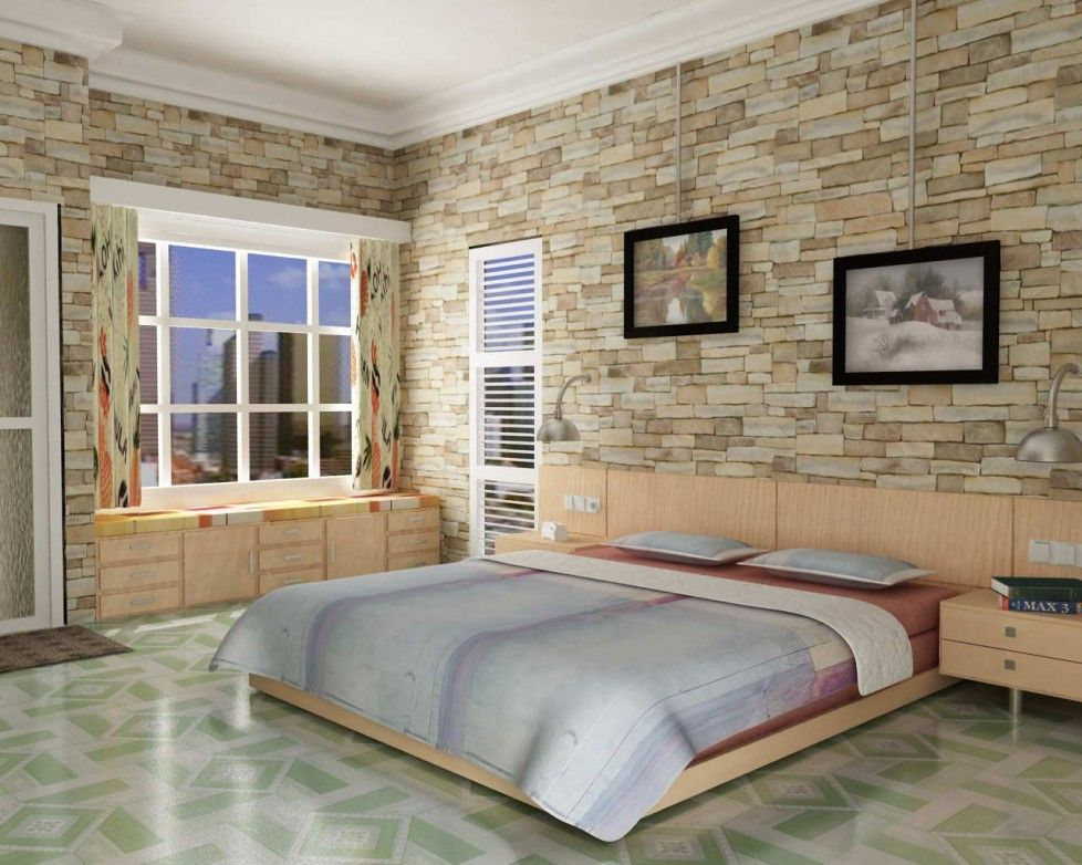 Download Comfortable Bedroom Decoration Interior Design Of Simple Modern Loft Apartment Bedroom With Faux Limestone Wallpaper Space Saving Bay Window Seat Contemporary Curtain Vynil Flooring Design Ideas HD Wallpapers