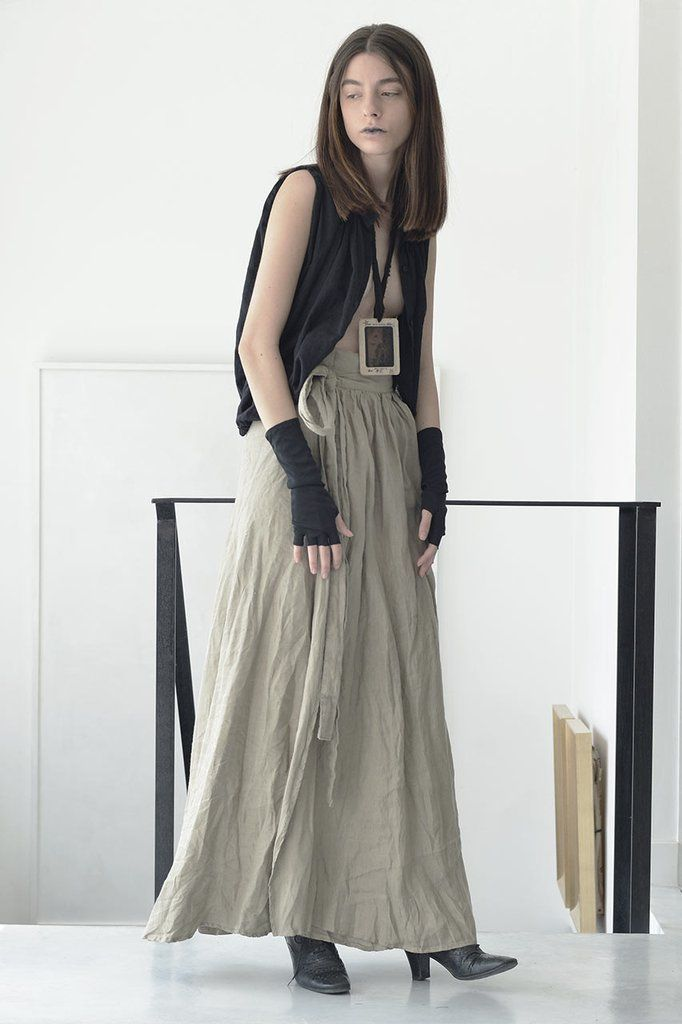 Shop WRAP AROUND MAXI LINEN SKIRT - NATURAL – by Sharon Brunsher, €107.10 at Vathir.com   Soft wrap around linen maxi skirt   Incorporated linen belt   Raw hem   Available in One Size   Made in Tel Aviv, Israel