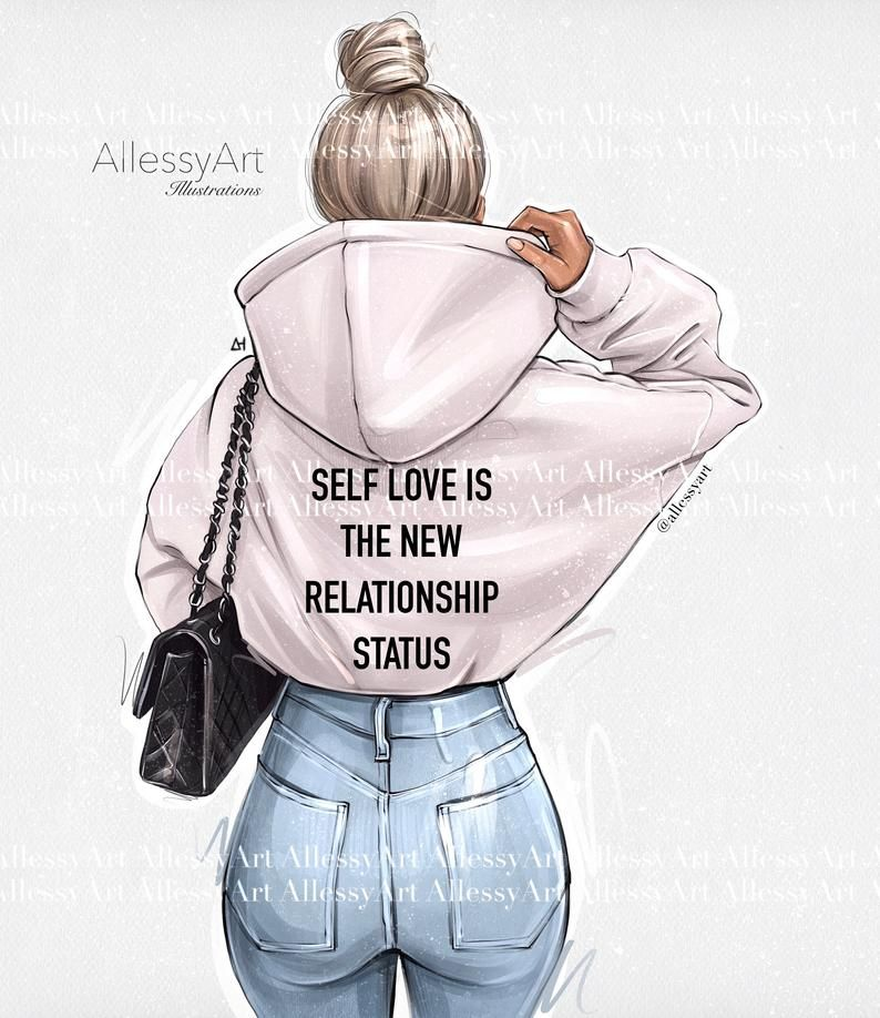 Photo of Instant download fashion illustration, Motivational quotes, Self Love clipart, Printable Art Girl, Different skin and hair color