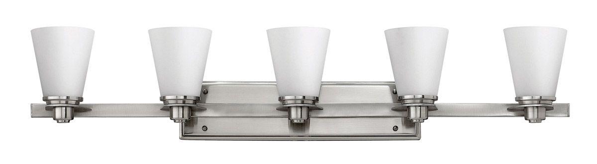 Photo of Hinkley Avon 5-light basin lamp made of brushed nickel