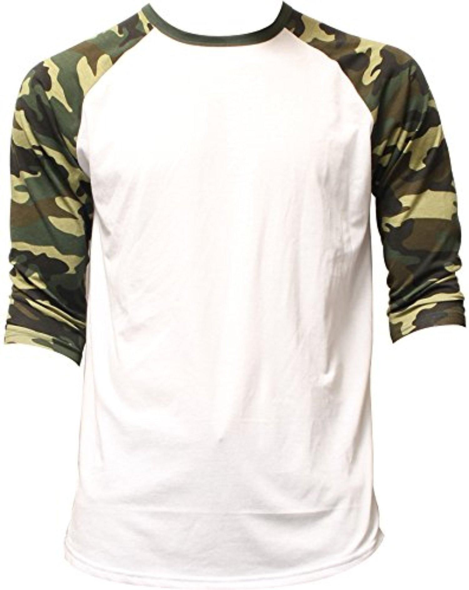 3d42d5e7 Men's Plain Athletic 3/4 Sleeve Baseball Sports T-Shirt Raglan Shirt S-XL  Team Jersey White Green Camo Large - Brought to you by Avarsha.com