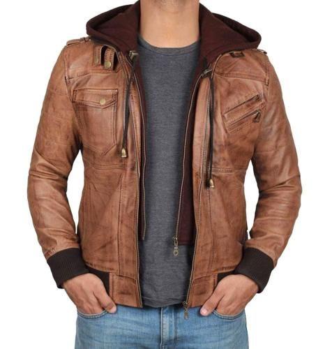Mens Real Leather Hood Fur Jacket Bomber Aviator Tan Brown Retro