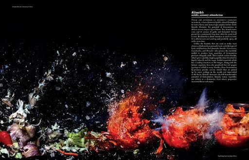 Fermenting kimchi as featured in Cured Magazine. High-speed Photography at 500 nanoseconds by Jasper Nance