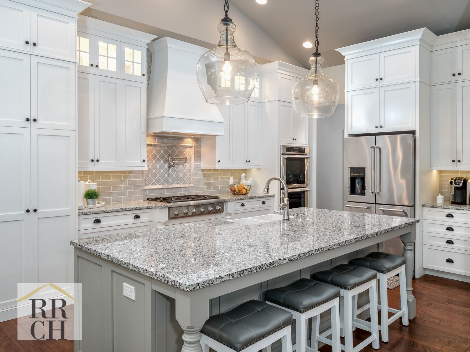 White And Gray Custom Kitchen Cabinets And Thermador Appliances Hickory Wood Floors In Chestnut Color Custom Kitchen Cabinets Hickory Wood Floors Repose Gray
