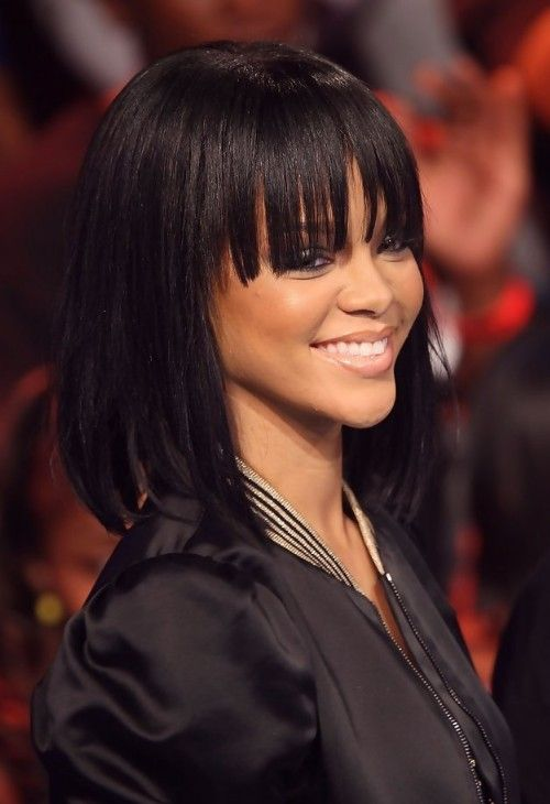 Rihanna Long Straight Bob Hairstyle With Bangs For Girls Rihanna