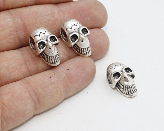 10 Pcs Antique Silver Skull Beads