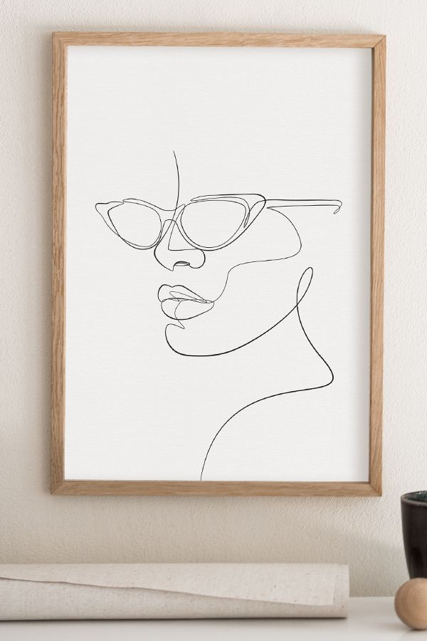 Photo of Woman with glasses printable wall art, abstract face sunglasses artwork, a line drawing …