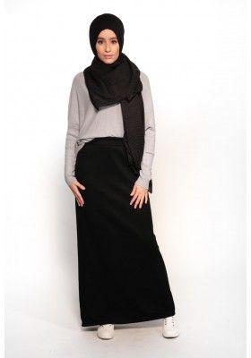 97604acd3de Jupe droite d hiver noir taille haute femmes musulmane boutique hijab pas  cher moderne