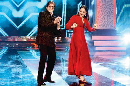 Amitabh Bachchan and Sonakshi Sinha at the shoot of Big B's TV show, 'Aaj Ki Raat Hai Zindagi', at Film City.