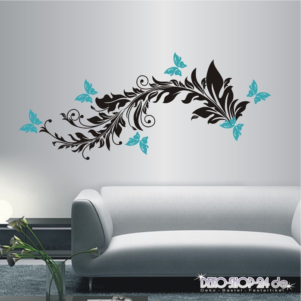 details zu wandtattoo wandaufkleber 2 farbig blumen ranke ornament schmetterlinge 266 xl. Black Bedroom Furniture Sets. Home Design Ideas