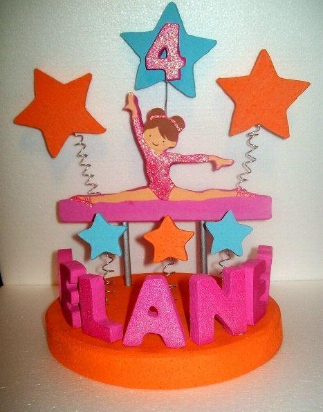 GYMNASTICS Pink Orange 3D Custom Cake Topper By TishToppers 3900 Gymnastics Birthday
