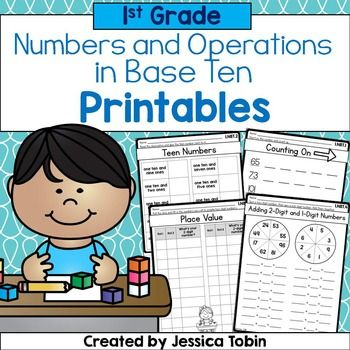 1st Grade Math Printables Worksheets- Numbers and Operations in Base ...