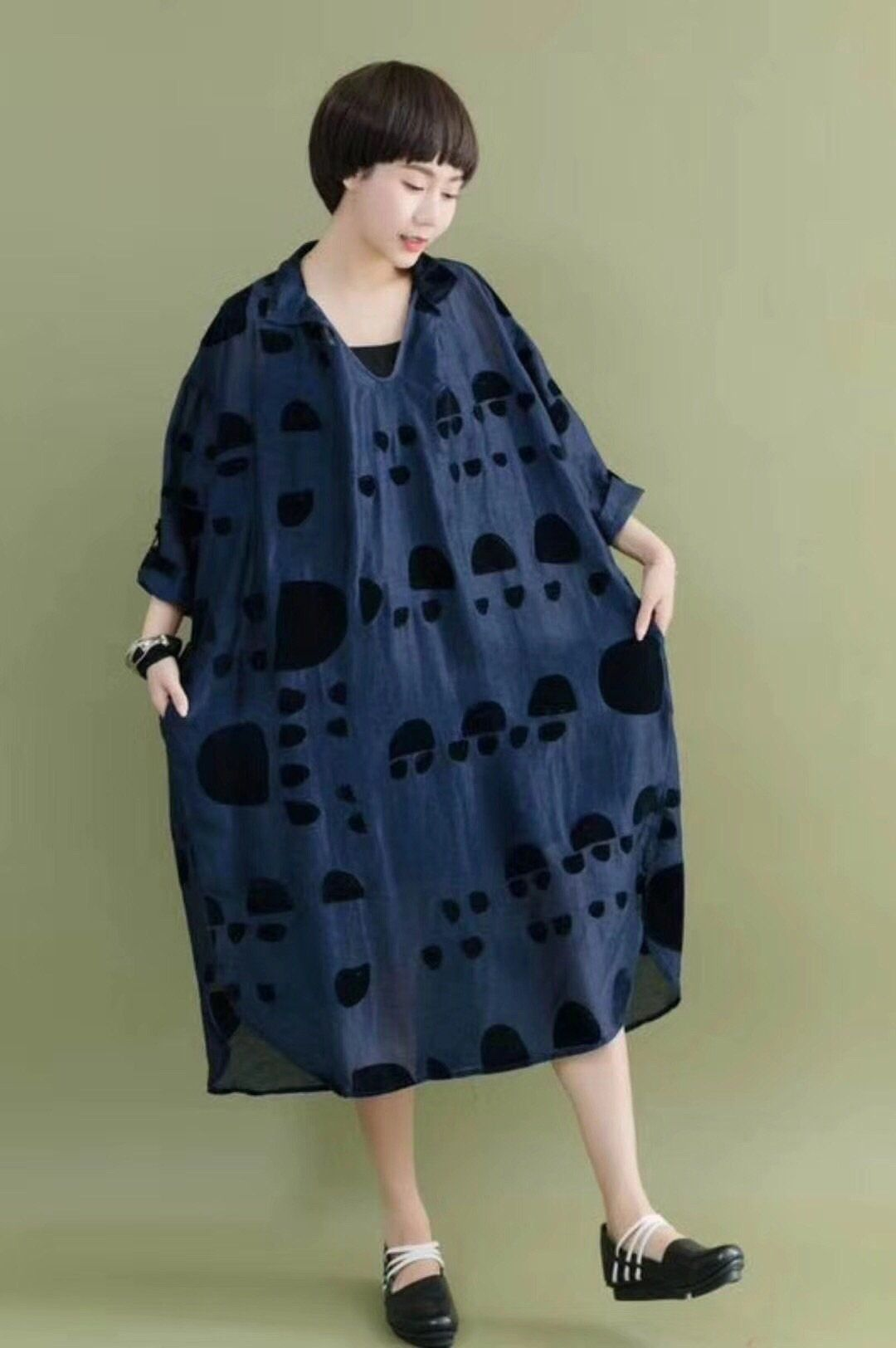 Navy blue floral casual loose silk cotton long dresses