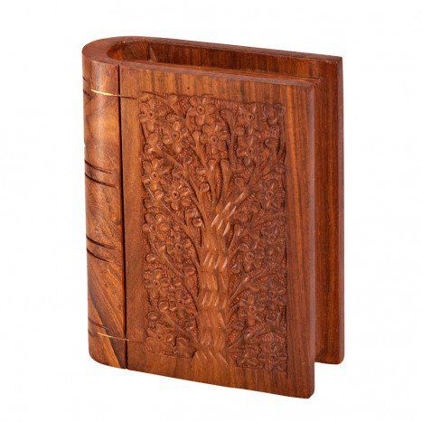 This Book Shaped Wooden Box Carved From Shesham Wood With A Beautiful Hand Engraved Tree On The Cover Opens To Reveal Decorative Boxes The Secret Book Decor