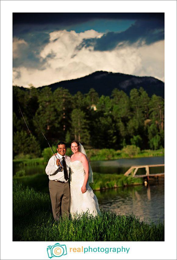 fishing wedding bride and groom portrait - colorado ...