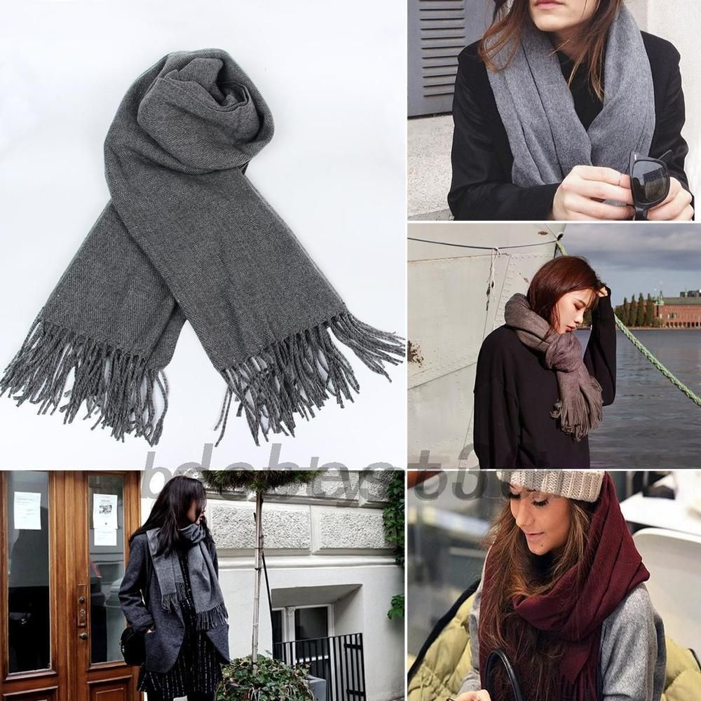 New Fashion Women/'s Solid Warm 100/% Cashmere Pashmina Scarf Wrap Shawl Stole