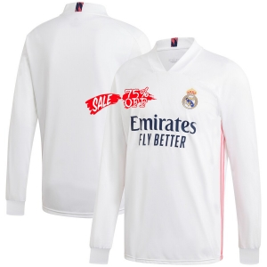 Real Madrid 20 21 Wholesale Home Ls Cheap Soccer Jersey Sale Shirt Real Madrid 20 21 Wholesale Home Ls Cheap Soccer Jersey Sal In 2020 Soccer Kits Soccer Soccer Shirts
