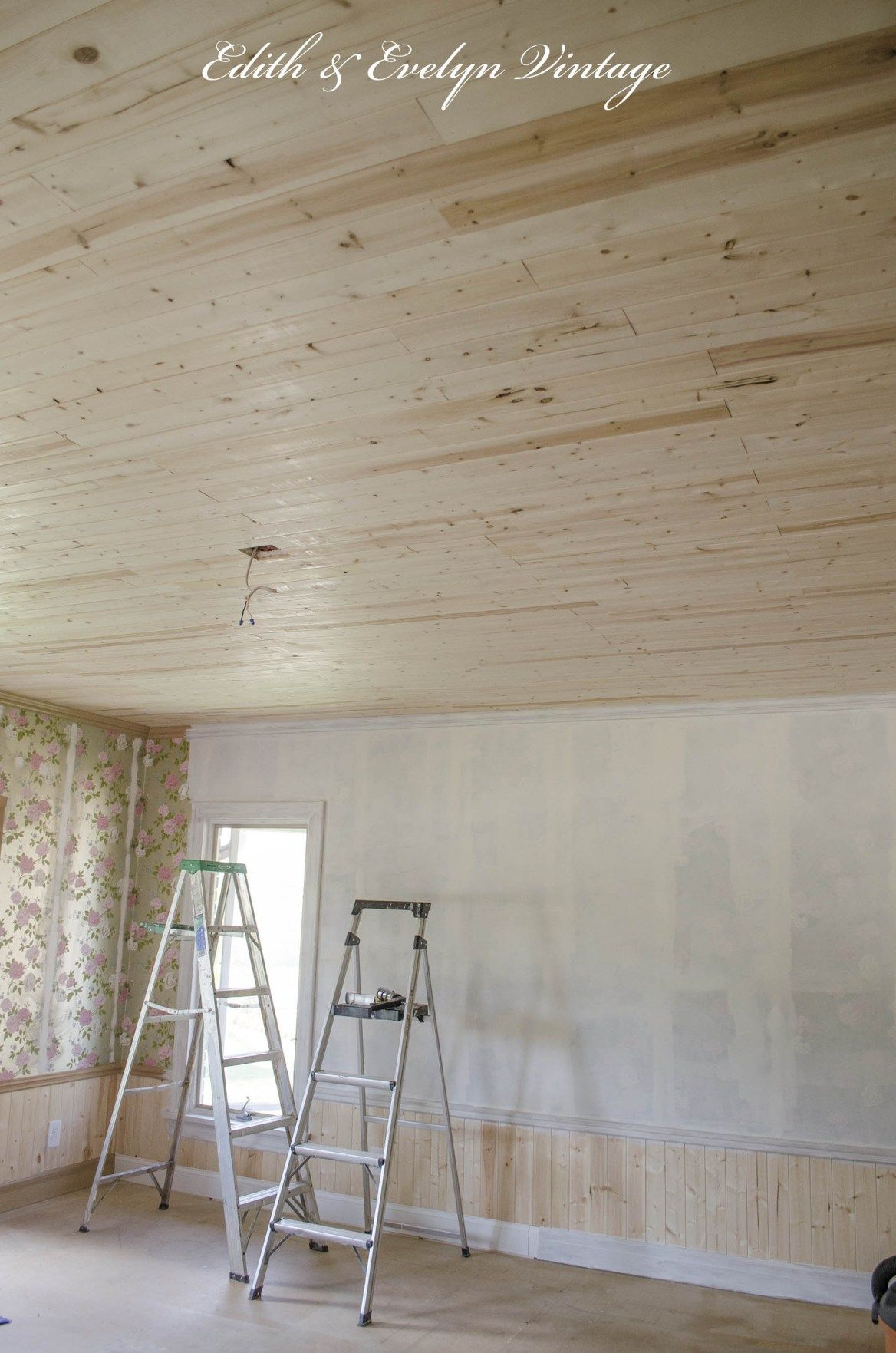 How To Plank A Popcorn Ceiling Edith Evelyn Vintage Www Edithandevelynvintage Com Popcorn Ceiling Wood Plank Ceiling Basement Remodeling