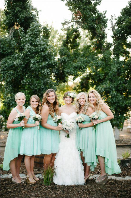 Mint bridesmaids dresses. #mint #bridesmaids #weddingchicks Captured By: Acres of Hope Photography ---> http://www.weddingchicks.com/2014/05/06/pot-your-own-succulent-centerpieces/