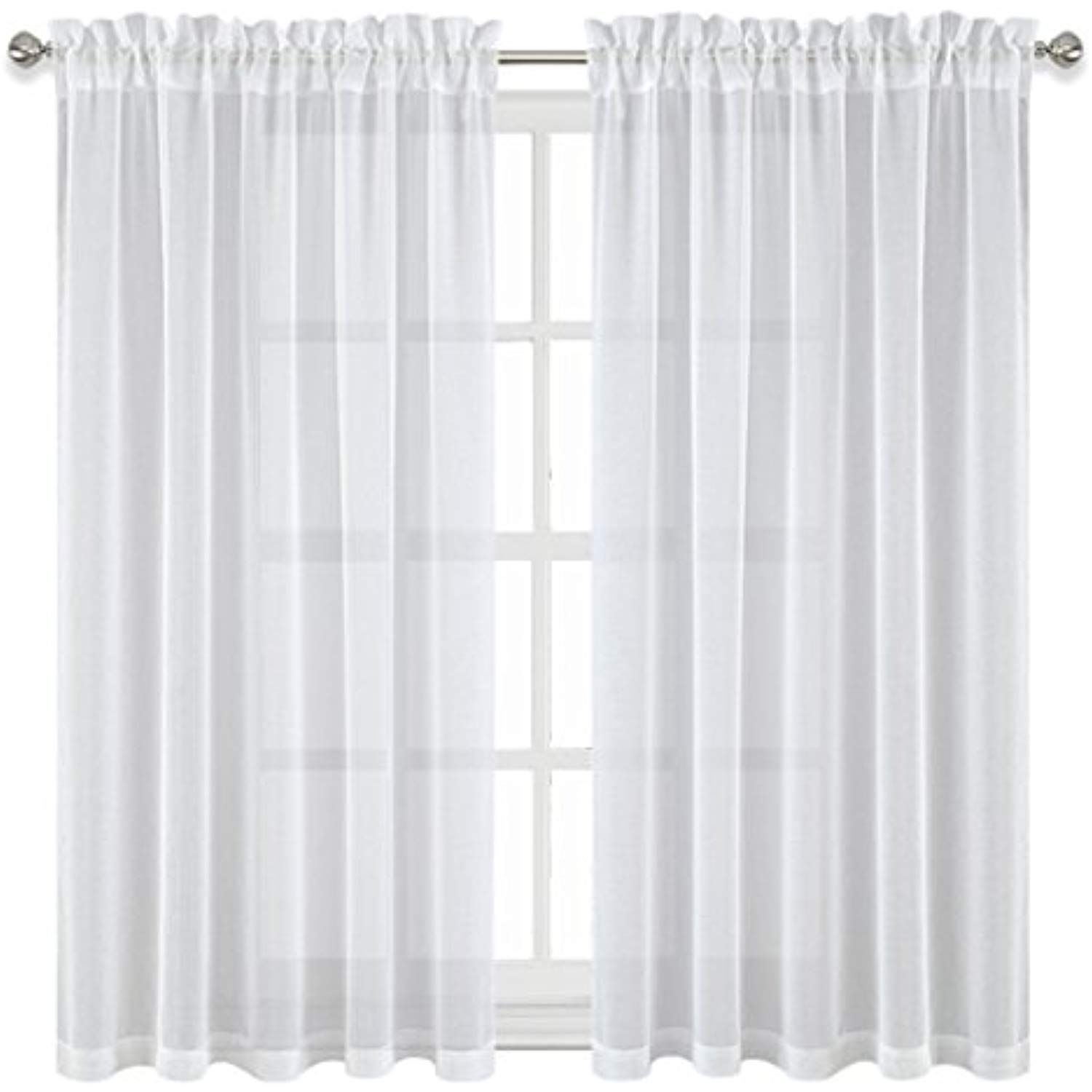 Pony Dance White Sheer Curtains Linen Look Short Voile Curtain
