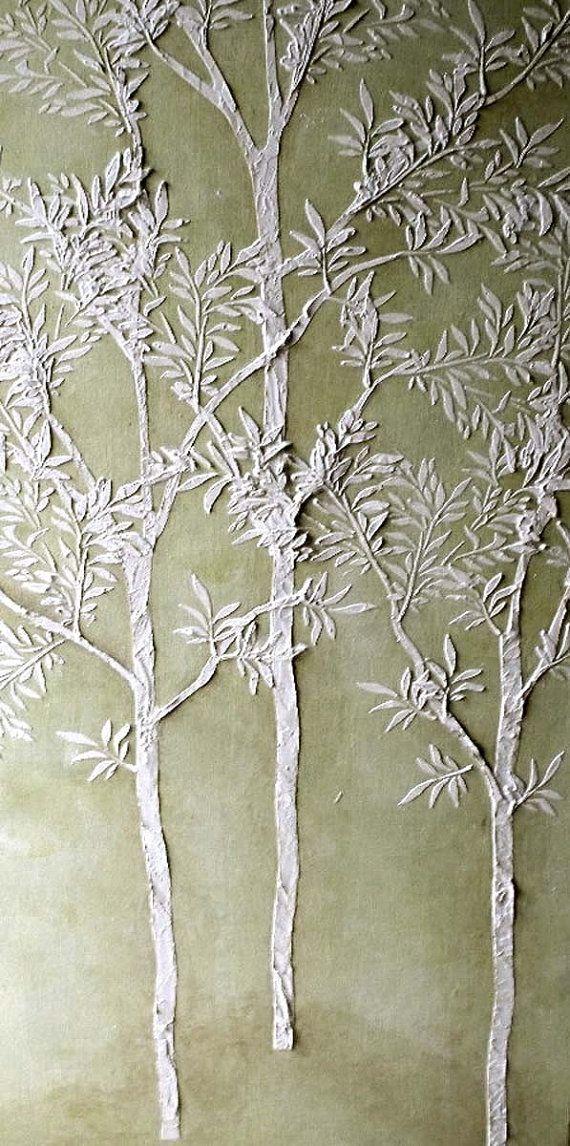 Raised Plaster Life-sized Sapling Tree Stencil di ElegantStencils