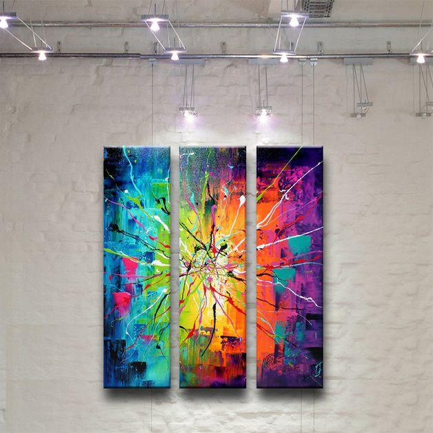 acrylmalerei crazy brushes gem lde abstrakt bild moderne kunst ein designerst ck von. Black Bedroom Furniture Sets. Home Design Ideas