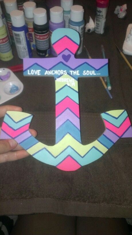 Diy Ceramic Anchor Painting Wooden From Michaels And Acrylic Paint In Your Choice Of Colors Chevron