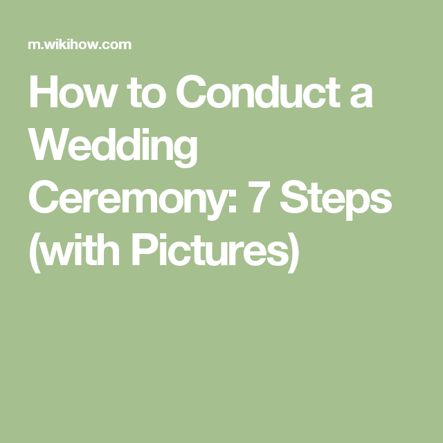 Conduct A Wedding Ceremony