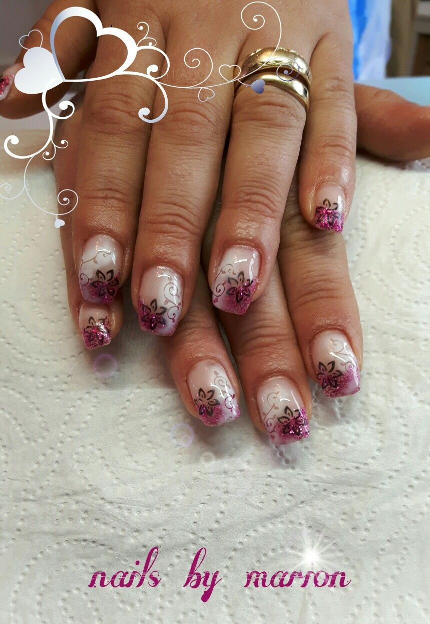Gelnails, Gelnägel, French, Nageldesign, Nailart, Glitzer, Glitter ...