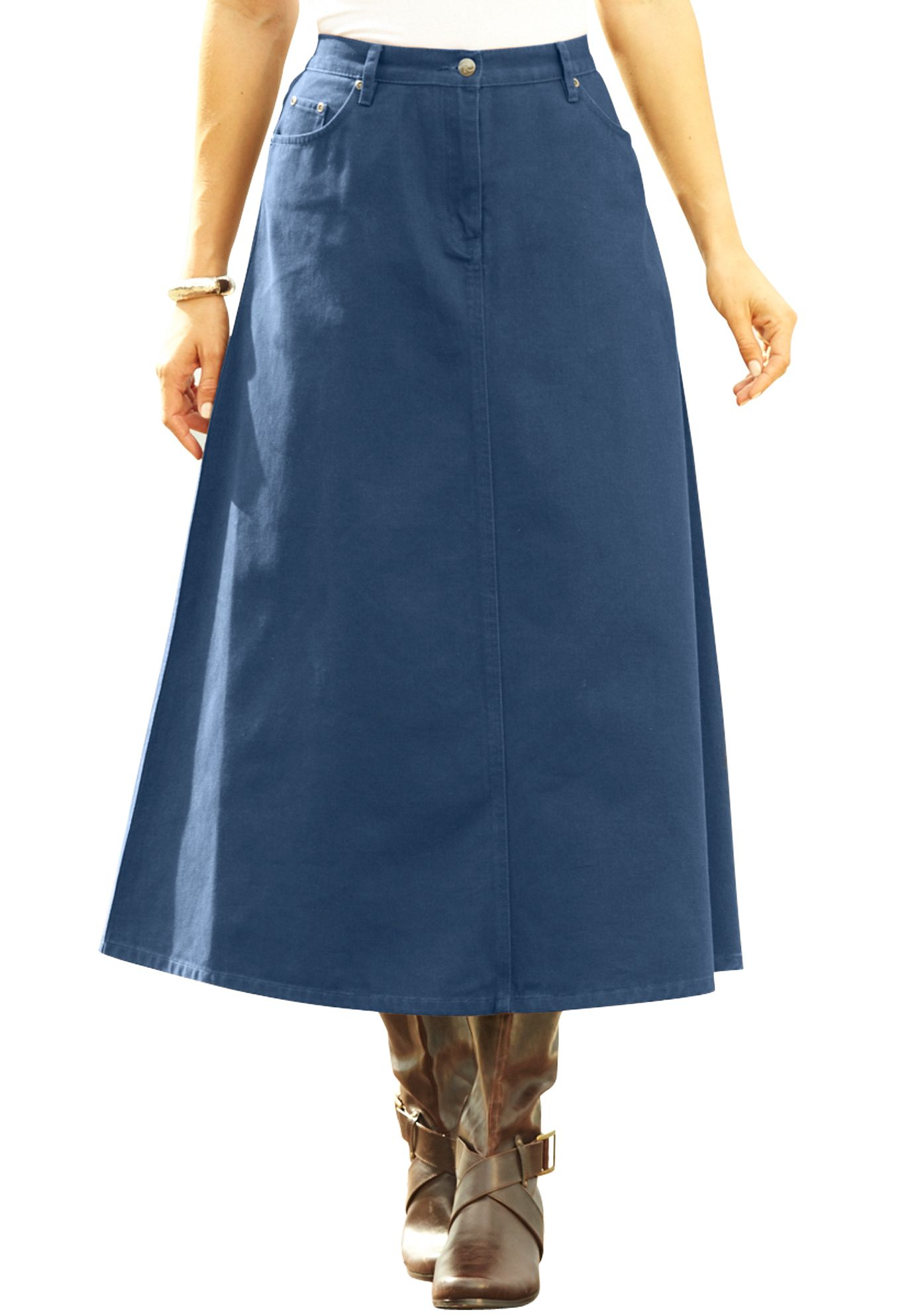 8d57b7e2f8 Perfect Denim A-line Skirt | Plus Size Dresses and Skirts | Roamans ...