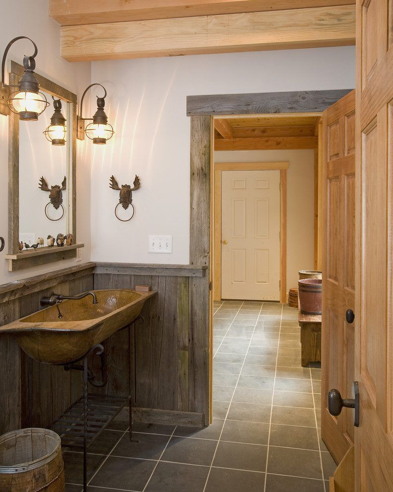 Barn Wood Trim Ideas Bathroom Rustic With Mirror Reclaimed Habitat Post Beam